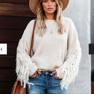 Fringe sleeve knit sweater